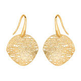 Birds Nest Weave Inspired Drop Earrings In 14K Yellow Gold