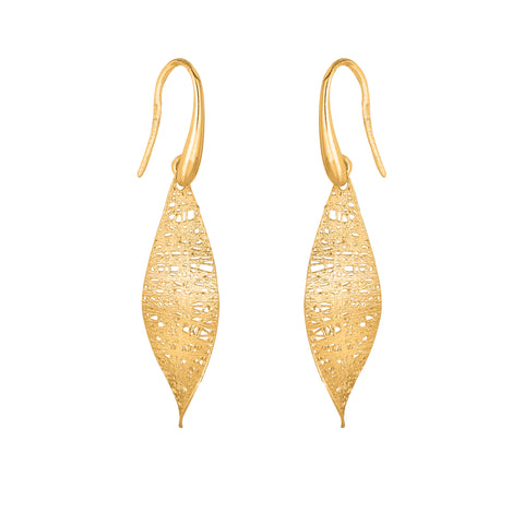Birds Nest Weave Inspired Leaf Earrings In 14K Gold