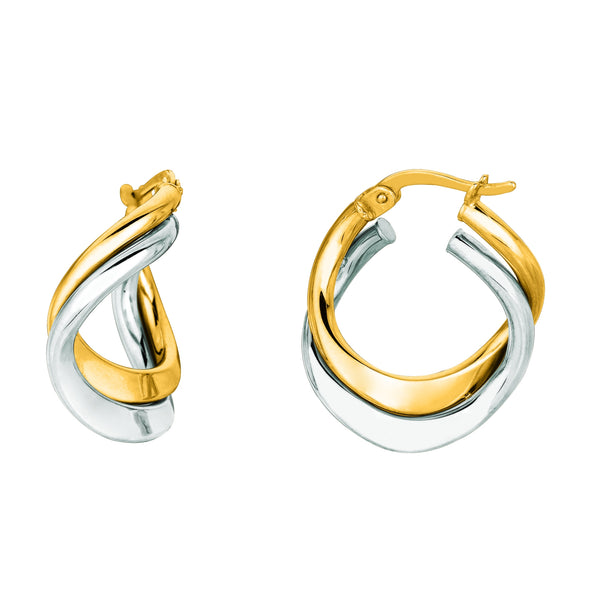 14K Yellow And White Gold Double Row Hoop Earrings, Diameter 17mm