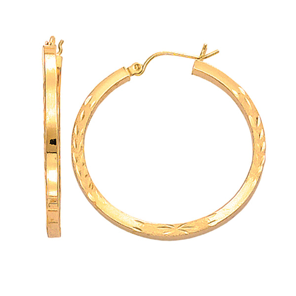 14K Yellow Gold Diamond Cut Square Tube Hoop Earrings, Diameter 35mm