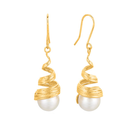 Coil Inspired Pearl Drop Earrings In 14K Yellow Gold