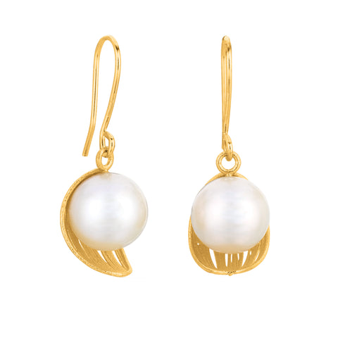 Leaf Inspired Pearl Earrings In 14K Gold