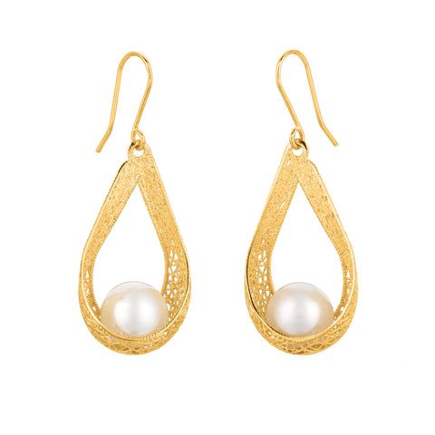 Spider Web Inspired Pearl Earrings In 14K Gold