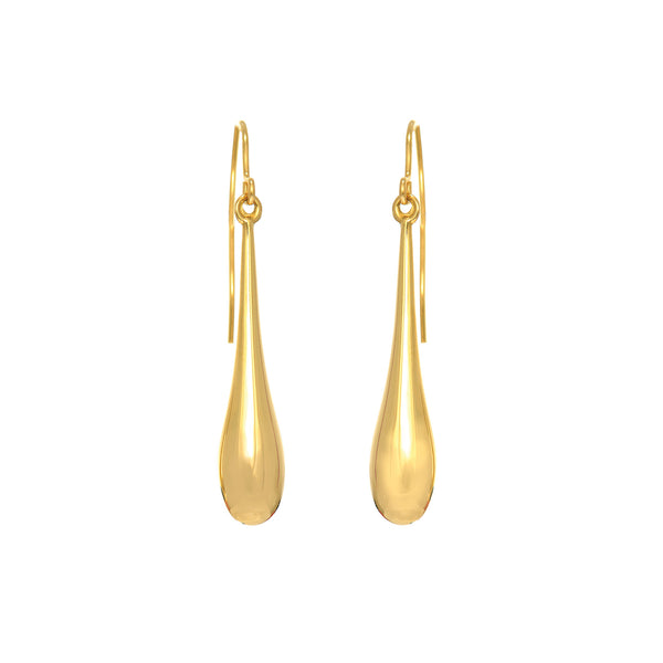 14K Yellow Gold Long Puffed Teardrop Drop Earring