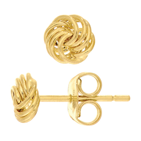 14k Yellow Gold Shiny 4 Row Love Knot Stud Earrings, 6mm