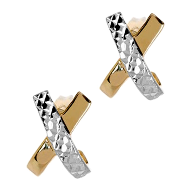 "14k Two Tone Gold Shiny With Diamond Cut ""X"" Design Stud Earrings, 12mm"