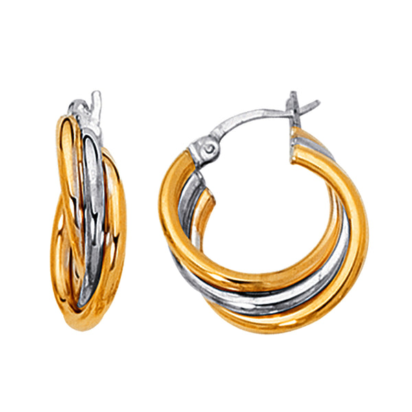 14K Yellow And White Gold Two Tone Triple Row Hoop Earrings, Diameter 20mm