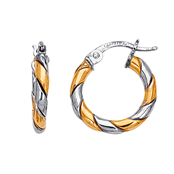 14K Yellow And White Gold Two Tone Small Twisted Hoop Earrings, Diameter 17mm