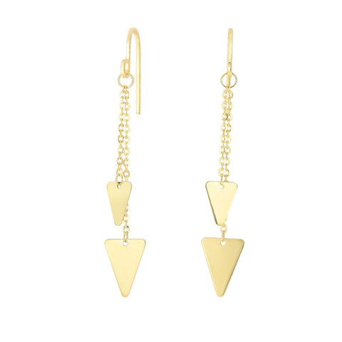 14K Yellow Gold Hanging Triangle Charm Earrings