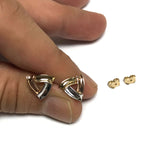 14k Tricolor Yellow Rose And White Gold Open Triangle Shaped Stud Earrings, 10mm