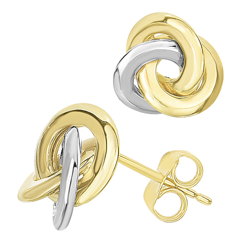 14k Two Tone Gold Love Knot Style Stud Earrings, 11mm - JewelryAffairs  - 1