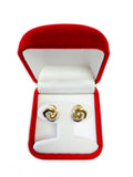 14k Two Tone Gold Love Knot Style Stud Earrings, 11mm