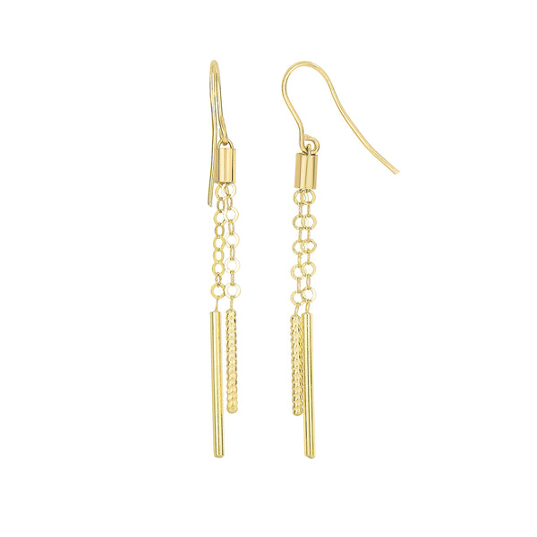 14K Yellow Gold Shiny And Diamond Cut Cylinders On Chain Drop Earrings