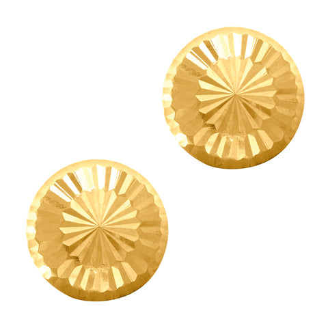 14k Gold Shiny Diamond Cut Round Stud Earrings, 7mm