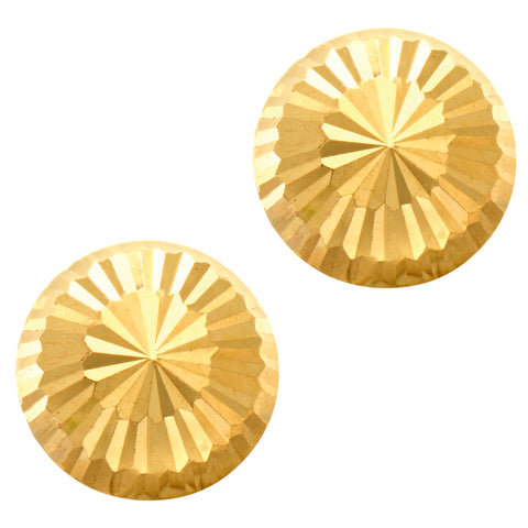 14k Gold Shiny Diamond Cut Round Stud Earrings, 10mm