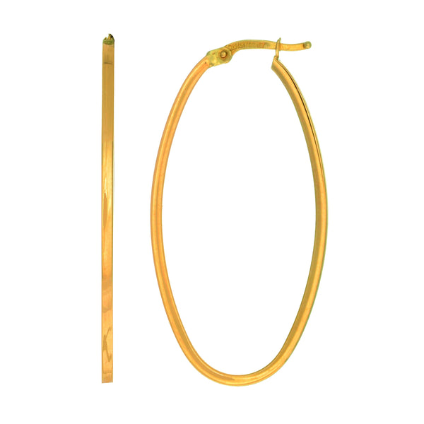 14K Yellow Gold High Polished Square Tube Oval Hoop Earrings