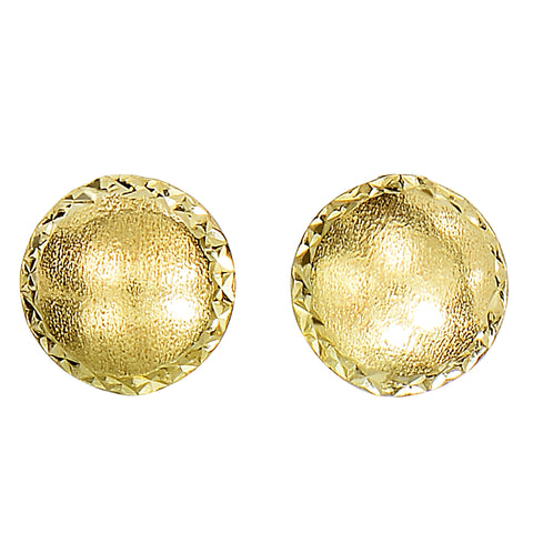 14k Yellow Gold Satin With Diamond Cut Edges Stud Earrings, 8mm - JewelryAffairs  - 1