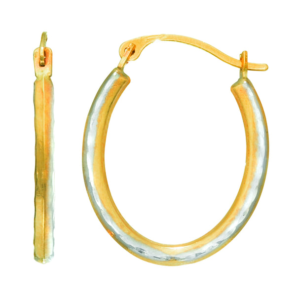 14K Yellow Gold Alternate Satin Finish Three Sided Oval Hoop Earrings