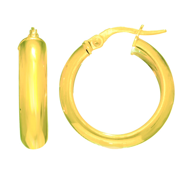 14K Yellow Gold Domed Hoop Earring, Diameter 20mm
