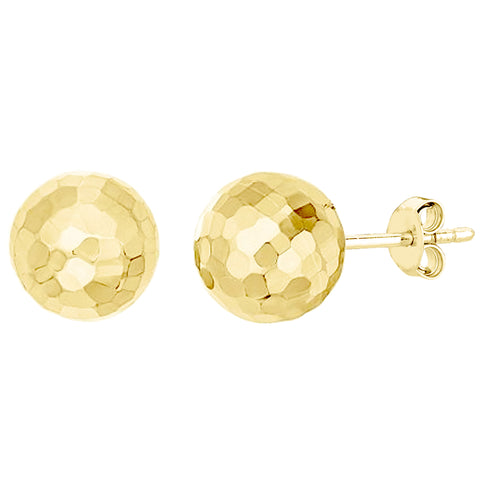14k Gold Hammered Finish Ball Stud Earrings, 7mm