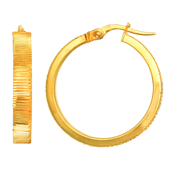 14K Yellow Gold Diamond Cut Flat Round Tube Hoop Earrings, Diameter 24mm