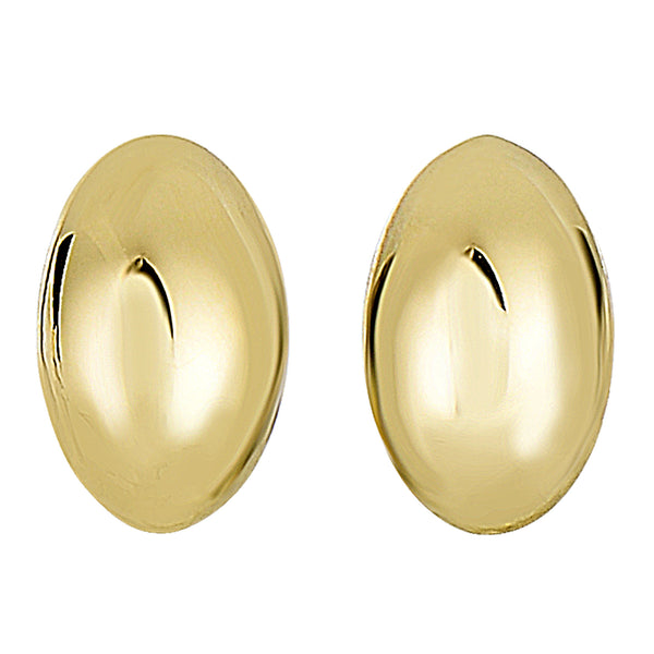 14k Yellow Gold Shiny Puffed Marquis Shape Stud Earrings, 6 X 10mm