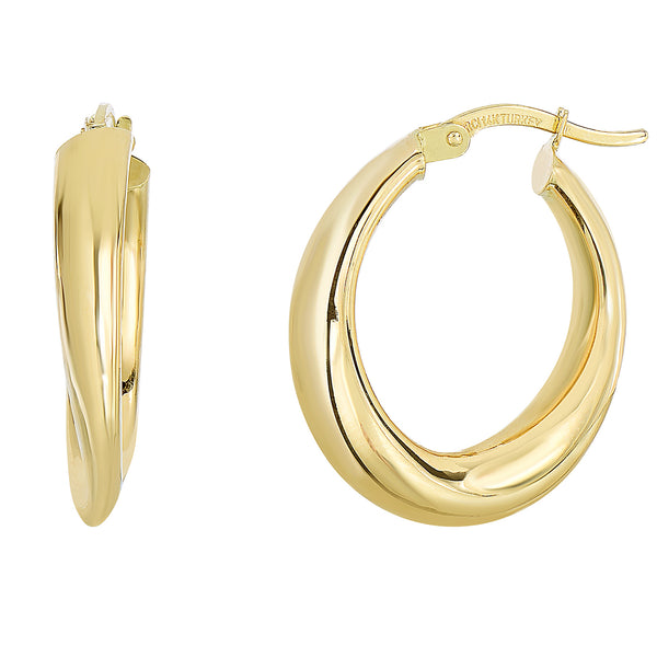 14K Yellow Gold Graduated Oval Shape Hoop Earrings