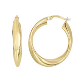 14K Yellow Gold Shiny Twisted Oval Hoop Earrings, Diameter 21mm