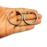 14K White Gold 4MM Shiny Round Tube Hoop Earrings