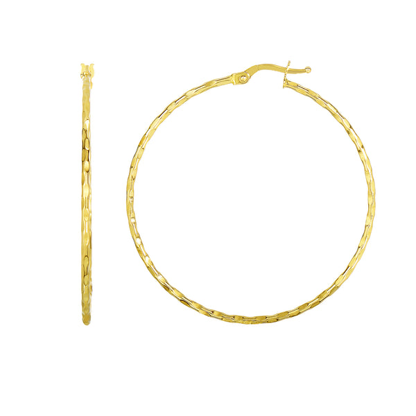 14K Yellow Gold Shiny Round Hoop Earrings, Diameter 45mm