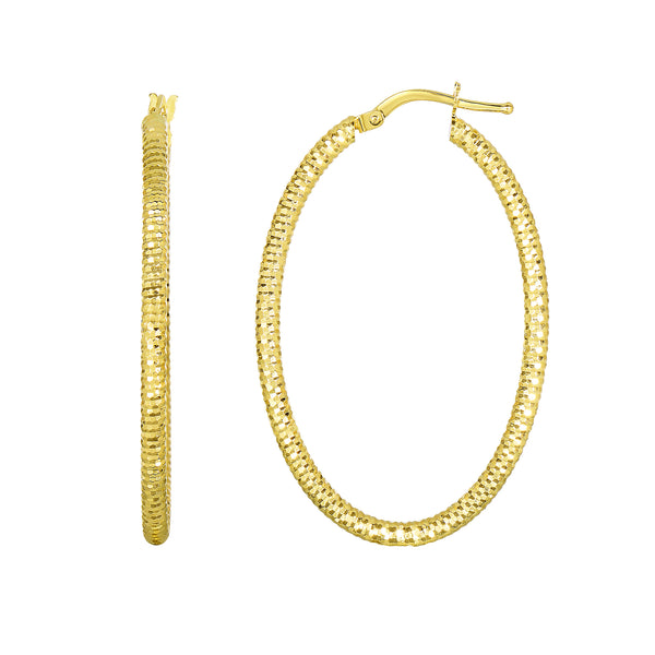 14K Yellow Gold Shiny Square Textured Oval Hoop Earrings