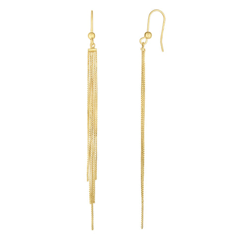 14K Yellow Gold 5 Strand Box Chain Tassel Drop Earrings