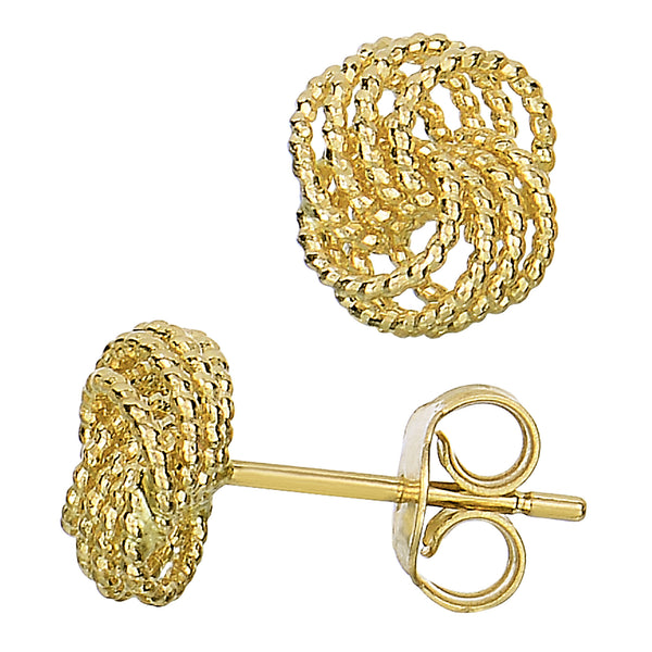 14k Yellow Gold Twisted Cable 4 Line Love Knot Type Stud Earrings, 9 x 8mm - JewelryAffairs  - 1