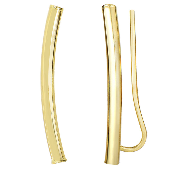 14k  Gold Shinny Round Tube Curved Climber Earrings