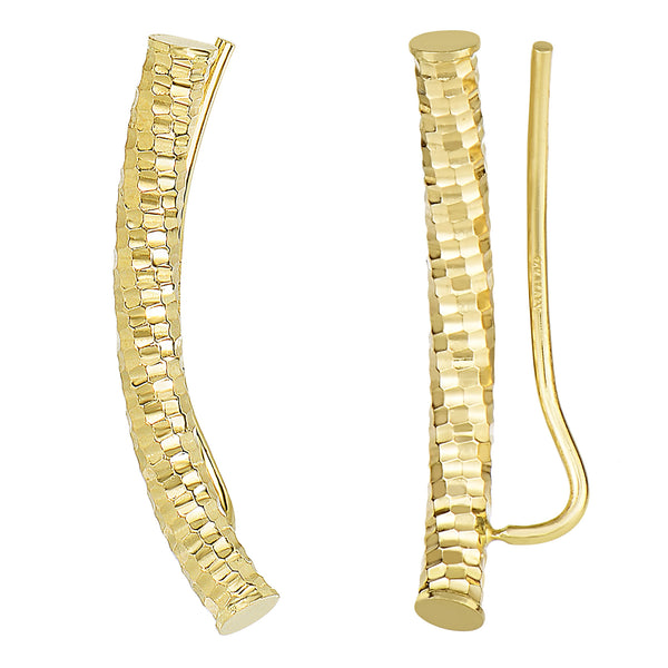 14k Yellow Gold Shinny Diamond Cut Round Tube Curved Climber Earrings