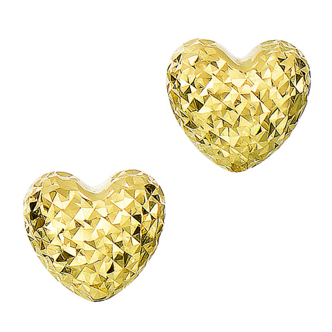 14k Gold Diamond Cut Puffy Heart Stud Earrings, 7 x 8mm