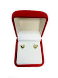 14k Gold Diamond Cut Puffy Heart Stud Earrings, 7 x 8mm - JewelryAffairs  - 4
