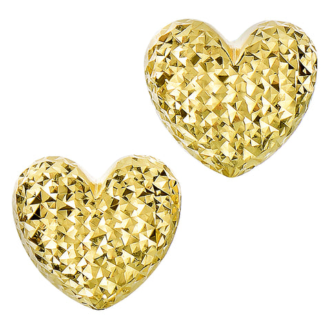 14k Gold Diamond Cut Puffy Heart Stud Earrings, 10 x 11mm - JewelryAffairs  - 1