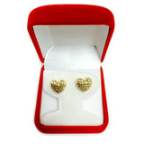14k Gold Diamond Cut Puffy Heart Stud Earrings, 10 x 11mm - JewelryAffairs  - 4