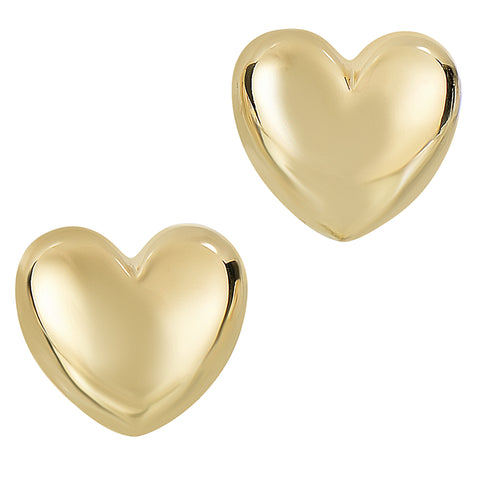 14k Gold Shiny Puff Heart Shape Stud Earrings, 10 x 11mm