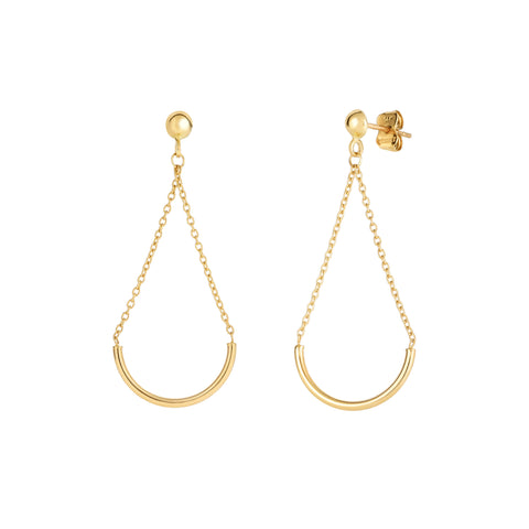 14K Yellow Gold Half Circle Bar Hanging On Chain Drop Earrings