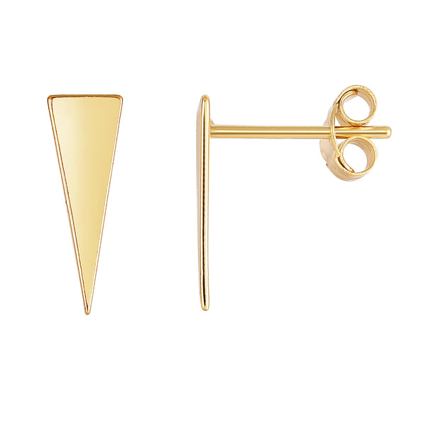 14K Yellow Gold Long Triangle Climber Stud Earrings