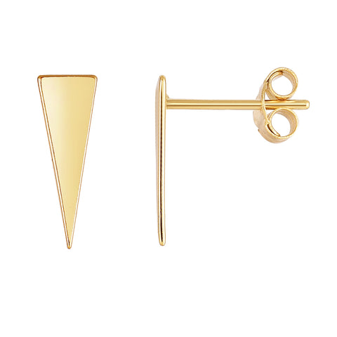 14K Yellow Gold Long Triangle Stud Earrings