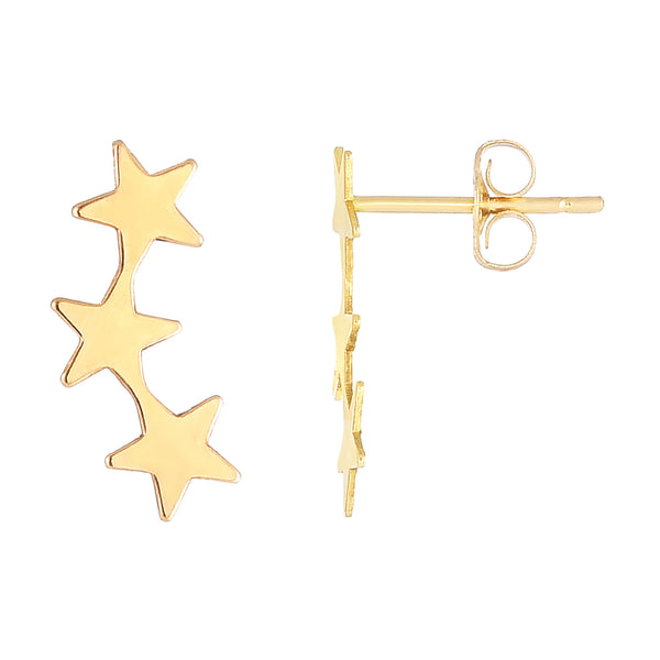 14K Yellow Gold 3 Star Climber Stud Earrings