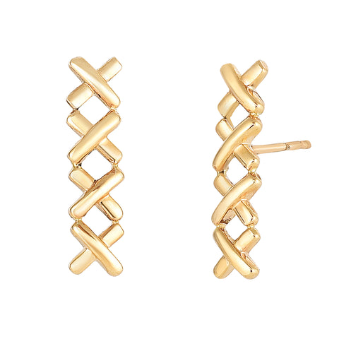 14K Yellow Gold 4 Small X Ear Climber Style Stud Earrings