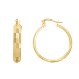 14K Gold Reflective Rectangular Hoop Earrings, Diameter 22mm