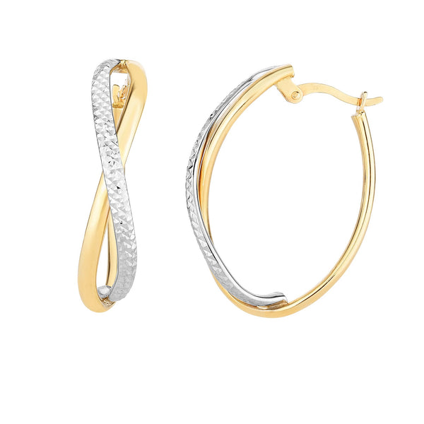 14K Yellow And White Gold Diamond Cut Two Tone Infinity Oval Hoop Earrings
