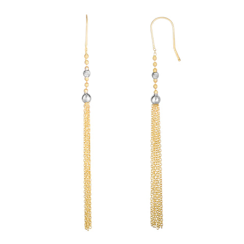 14K Two Tone Gold Diamond Cut Beads With Cable Chain Tassel Drop Earrings
