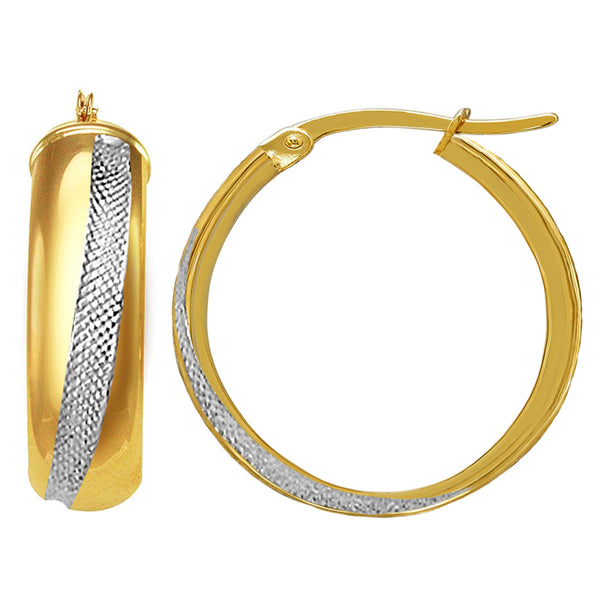 14K 2 Tone Gold Round Tube Hoop Earrings, Diameter 20mm