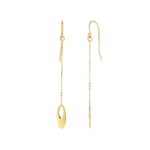 14K Yellow Gold Oval Bead Drop Earrings